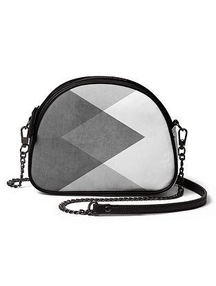 Grey Black Printed Canvas Crossbody Bag