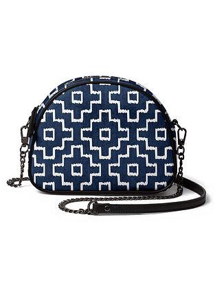 Blue White Printed Canvas Crossbody Bag