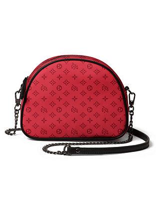 Red Printed Canvas Crossbody Bag
