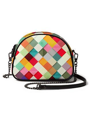 Multicolored Printed Canvas Crossbody Bag