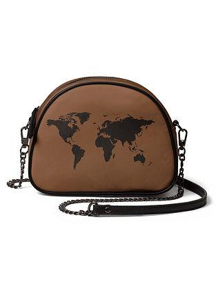 Brown Black Printed Canvas Crossbody Bag