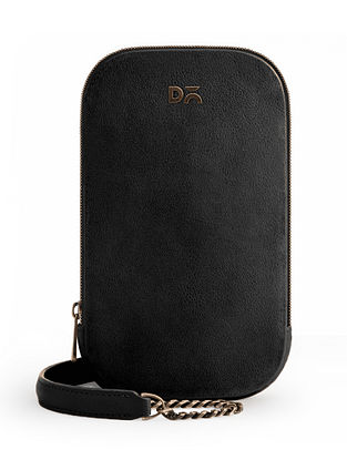 Black Vegan Leather Crossbody Bag
