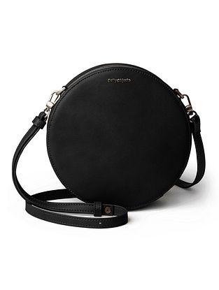 Black Vegan Leather Sling Bag