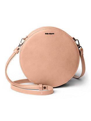 Beige Vegan Leather Sling Bag
