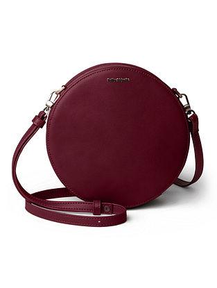 Maroon Vegan Leather Sling Bag
