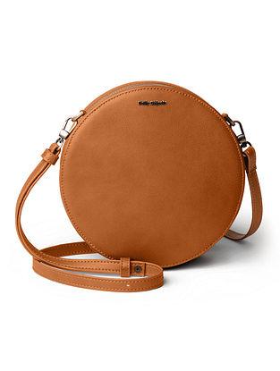 Tan Printed Vegan Leather Sling Bag