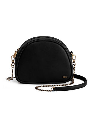 Black Handcrafted Vegan Leather Crossbody Bag