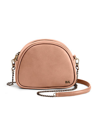 Blush Pink Handcrafted Vegan Leather Crossbody Bag