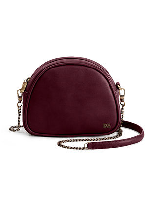 Burgundy Handcrafted Vegan Leather Crossbody Bag