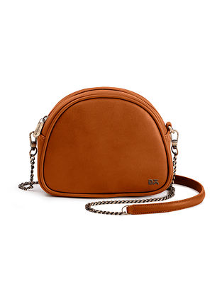 Tan Handcrafted Vegan Leather Crossbody Bag