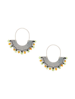 Green Yellow Silver Earrings