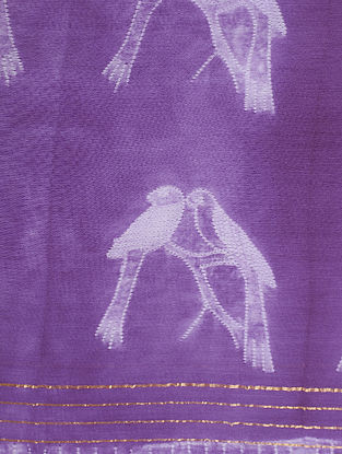Purple-Ivory Shibori-dyed Chanderi Dupatta with Zari