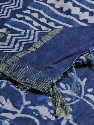 Blue-Ivory Block-printed Cotton Blend Dupatta