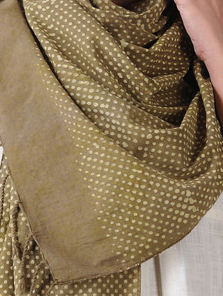 Olive-Ivory Block-printed Cotton Blend Stole