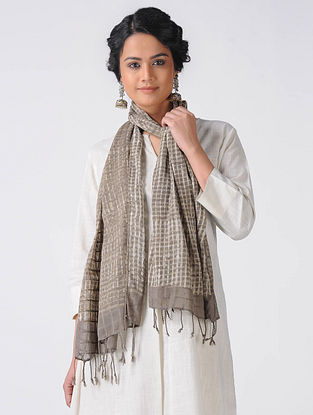 Grey-Ivory Block-printed Cotton Blend Stole