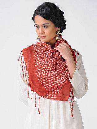 Red-Ivory Block-printed Cotton Blend Stole