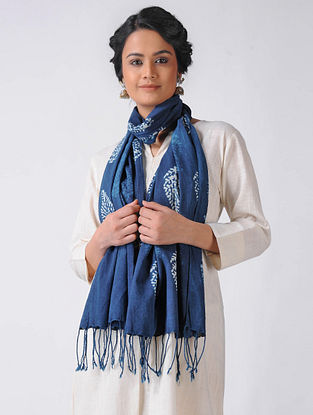 Blue-Ivory Block-printed Cotton Blend Stole