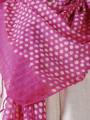 Pink-Ivory Block-printed Cotton Blend Stole