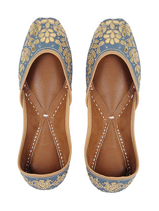 Grey-Gold Gota Embroidered Silk and Leather Juttis