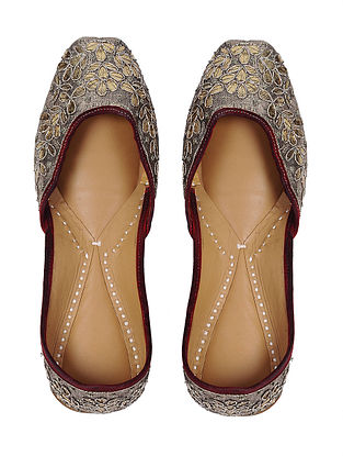 Gold Gota Embroidered Leather Juttis