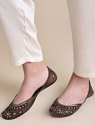 Dark Brown Multicolored Handcrafted Mukaish Leather Juttis
