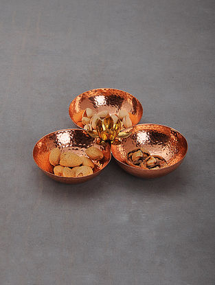 Handcrafted Copper Condiment Serving Tray (L: 8.2in, W:8.2in, H:2in)