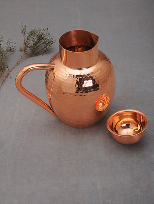 Handcrafted Copper Monarch Jug with Lid (L: 8in, W:6in, H:7.5in)