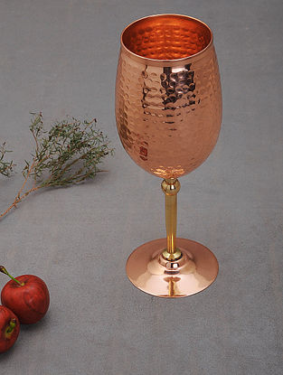 Handcrafted Copper Goblet (L: 3.5in, W:3.5in, H:8.6in)