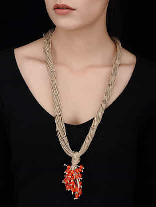 Brown-Red Handcrafted Jute Necklace