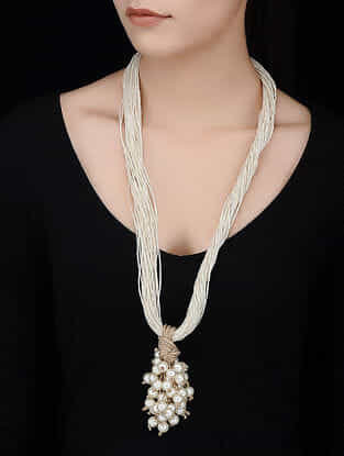 White-Brown Handcrafted Jute Necklace