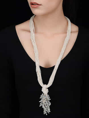 White-Grey Handcrafted Jute Necklace