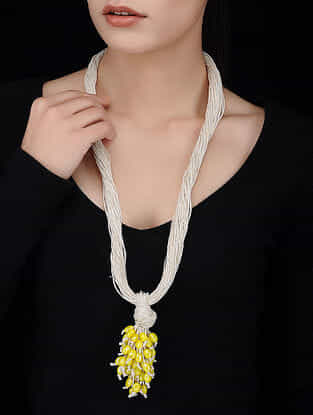 White-Yellow Handcrafted Jute Necklace