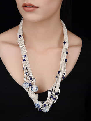 White-Blue Handcrafted Jute Necklace