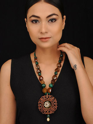 Green Brown Gold Tone Wood Jadau Necklace