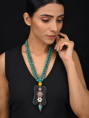 Turquoise Black Gold Tone Wood Jadau Necklace