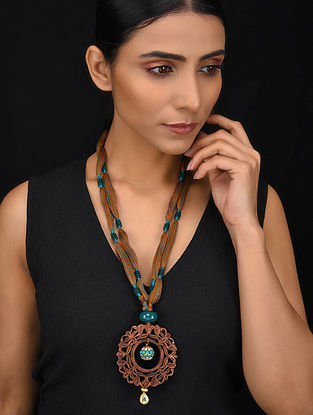 Turquoise Brown Gold Tone Wood Jadau Necklace
