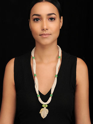 Green White Handcrafted Jute Necklace