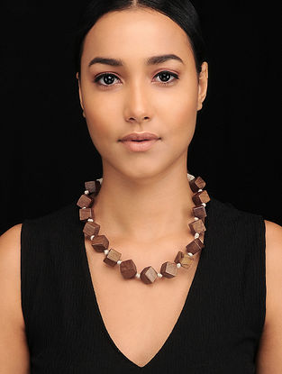 Brown White Handcrafted Wood and Jute Necklace