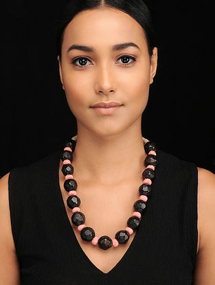 Black Pink Handcrafted Jute Necklace