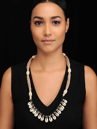 Black White Handcrafted Jute Necklace with Shell