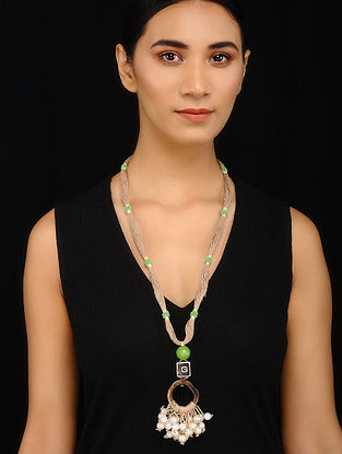 Green Brown Handcrafted Jute and Wood Necklace