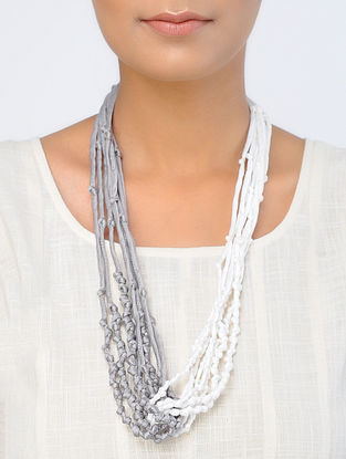 White-Grey Handcrafted Silk Satin Necklace