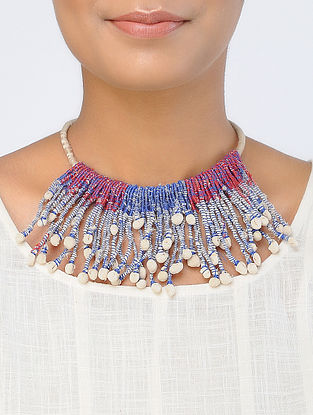 Red-Blue Handcrafted Georgette Necklace
