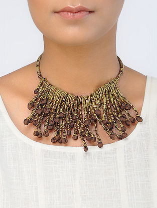 Yellow-Brown Handcrafted Georgette Necklace