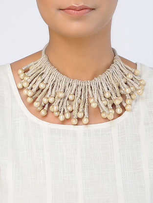 Beige Handcrafted Georgette-Tissue Necklace