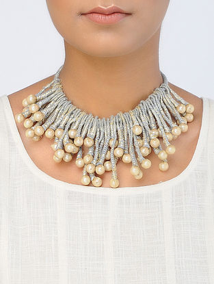 Grey-Golden Handcrafted Georgette-Tissue Necklace