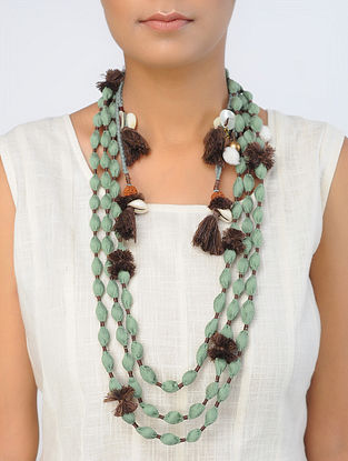 Green-Brown Handcrafted Satin Silk Necklace