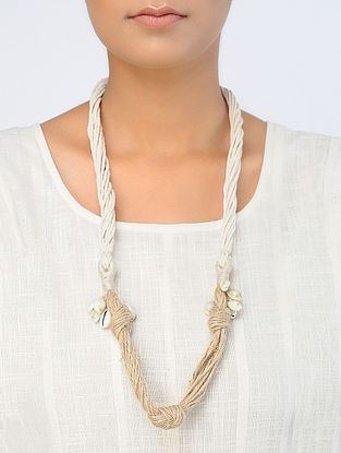 Beige-White Handcrafted Necklace with Shells