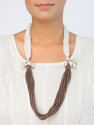 White-Brown Handcrafted Necklace with Shells