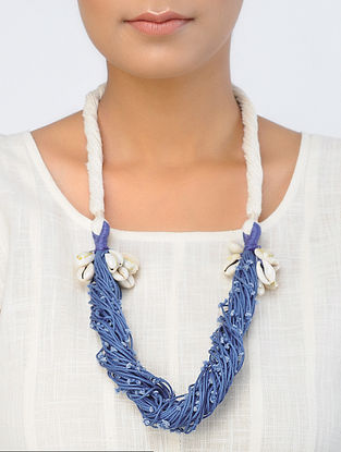 White-Blue Handcrafted Necklace with Shells